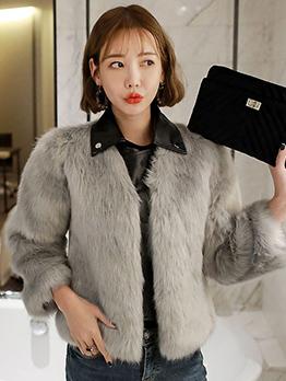 New Arrival Pu Stitching Plush Fur Ladies Short Coat