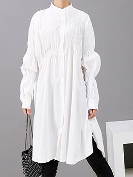 Loose Solid Ruffled Lantern Sleeve Dress