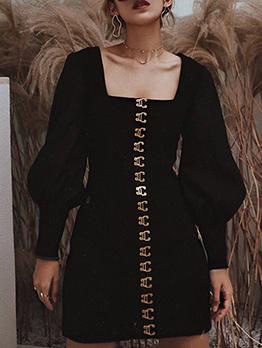 Square Neck Lantern Sleeve Black Ladies Dress