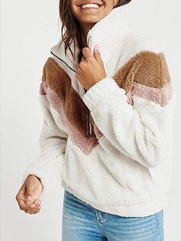Turndown Collar Contrast Color Faux Fur Winter Coats