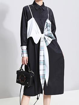 Chic Fashion Patchwork Bow Shirt Dress