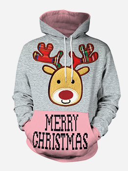 Christmas Printed Long Sleeve Lovers Pullover Hoodie