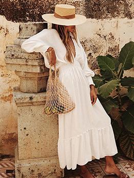 Deep V Neck Elastic Waist White Maxi Dress