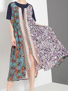 Vintage Patchwork Floral Short Sleeve Dress