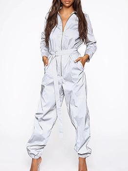 Reflect Empire Waist Zip Up Jumpsuits For Women