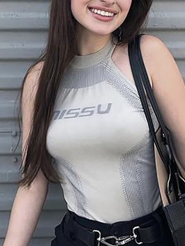 Stylish Letter Off Shoulder Women Bodysuits