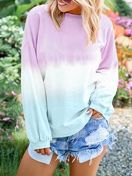 Loose Gradient Color Crew Neck Women Sweatshirt