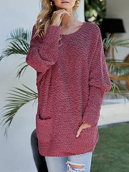Casual Pockets Long Sleeve Long Sweater