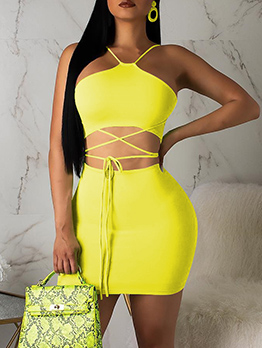 Bright Color Lace Up Crop Two Piece Skirt Set