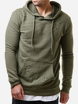 Solid Hole Side Zipper Hoodies For Men
