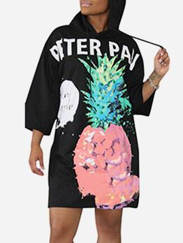 Letter Pineapple Printed Hoodies Dress