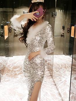 Plush Patchwork Long Sleeve Sequin Bodycon Dress