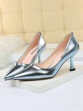 Euro Pointed Toe Metal Gloss High Heels