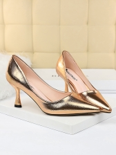 Euro Pointed Toe Metal Gloss High Heels