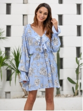Floral Ruffled Sleeve V Neck Casual Dress