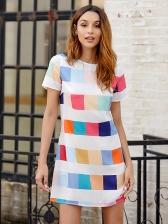 Casual Printed Straight Short Sleeve Mini Dress
