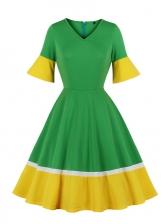 V Neck Contrast Color Large Hem Ladies Dress