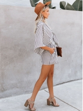 Half Sleeve Bow Striped Romper