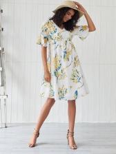 Printed Ruffled Sleeve Smart Waist Fashion Dress