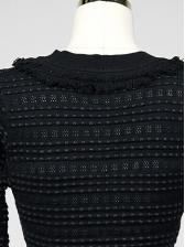 Korean Style V Neck Fitted Long Sleeve Dress
