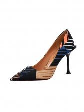 Contrast Color Shallow Slim Fit Ladies Stiletto