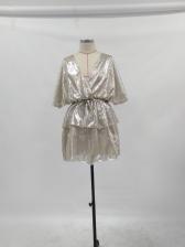 Deep V Neck Glitter Tie-Wrap Ladies Dress