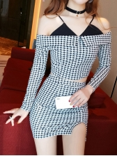 Houndstooth Pattern Fitted Crop 2 Piece Skirt Set