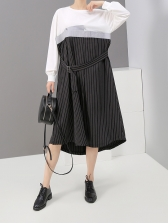 Fake Two Piece Patchwork Long Sleeve Striped Dress