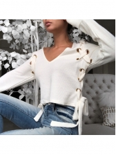 Individual v Neck Cropped Long Sleeve Sweater