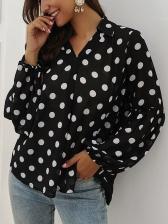 Turndown Collar Polka Dot Lantern Sleeve Ladies Blouse