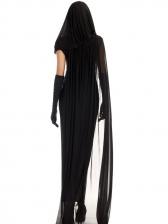 Halloween Black Gauze Hooded Witch Vampire Costume