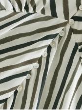 Euro Style V Neck Diagonal Stripe Maxi Dress