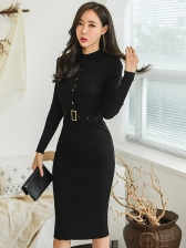 Knitting Bodycon Buttom Up Solid Dress