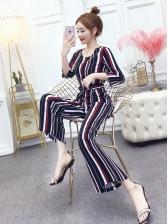 Vertical Stripes Tie-Wrap Women Straight Jumpsuit