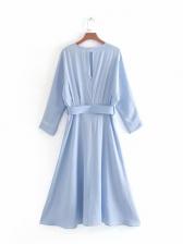 Crew Neck Light Blue Long Sleeve Maxi Dress
