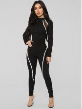Sporty Contrast Color Gauze Patchwork Ladies Jumpsuit