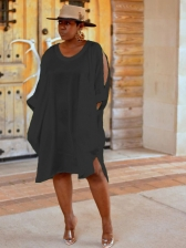 Casual Solid Color Split Sleeves Plus Size Dress