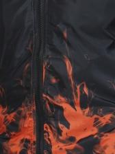 Casual Flame Printing Mens Winter Coats