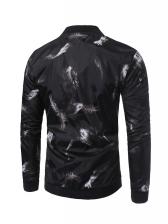 Simple Printed Long Sleeve Black Jacket