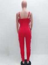 Side Button Up Adjustable Straps Women Jumpsuit