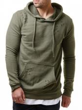 Solid Hole Side Zipper Hoodies For Men