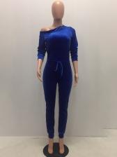 Inclined Shoulder Drawstring Solid Velvet Jumpsuit