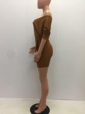 V Neck Tie-Wrap Knitted Off The Shoulder Dress