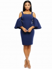 Cold Shoulder Flare Sleeve Solid Bodycon Dress