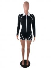 Zipper Up Long Sleeve Rompers For Women