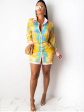 Single-Breasted Printed Long Sleeve Shirt Dress
