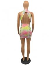 Deep V Neck Backless Tie Dye Sleeveless Dress