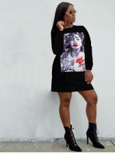 Printed Loose Long Sleeve T-Shirt Dress