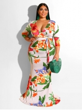 V Neck Printed Tie-Wrap Long Plus Size Dress