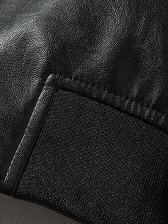 PU Embroidery Black Mens Overcoat